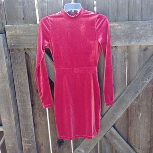 Light Maroon Colored Long Sleeve Velour Dress